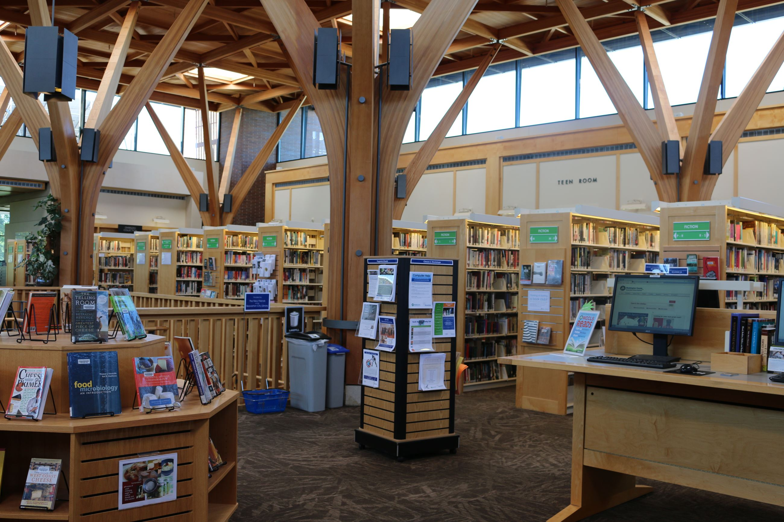 Library displays and shelves on the second floor