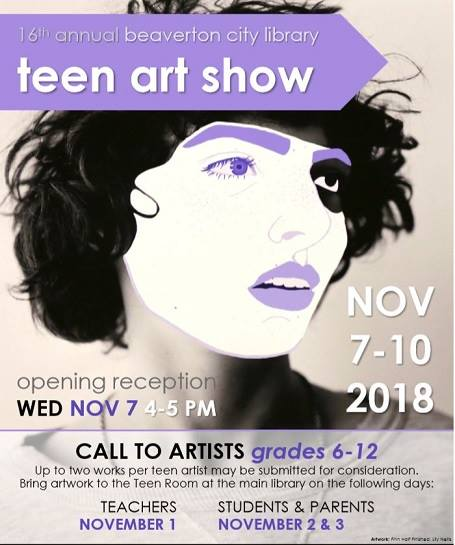 Previous Teen Art Show entry of a girl with purple eye brows and lips