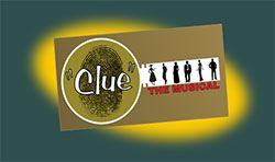 Logo with text for Clue, The Musical.
